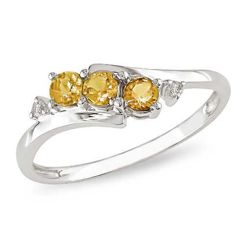 1/3 ct.t.w. Citrine and Diamond Accent Ring in 10k White Gold, I2-I3, G-H-I