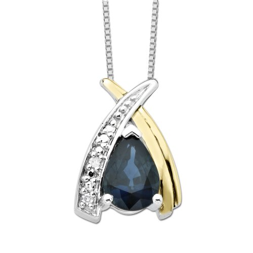 S&G Sterling Silver and 14k Yellow Gold Oval Blue Sapphire and Diamond-Accent Pendant Necklace (0.01cttw, I-J Color, I3 Clarity), 18