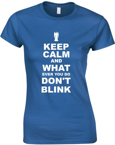 Keep Calm and Don't Blink, Ladies Printed T-Shirt – Royal Blue/White S = 6-8