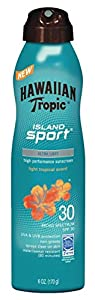 Hawaiian Tropic Sunscreen Island Sport Broad Spectrum Sun Care Sunscreen Spray - SPF, 6 Ounce