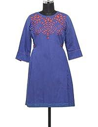Kalki Fashion Blue Cut Work Cotton Kurti Only On Kalki Size- Large