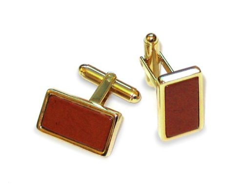 GOLD Colored Men's Cuff Link Red Natural Stone Rectangular Cufflinks