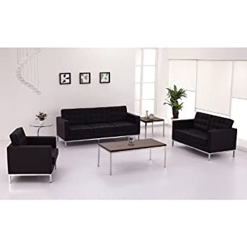 Flash Furniture HERCULES Lacey Series Contemporary Black Leather Loveseat with Stainless Steel Frame