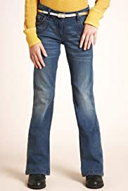 Cotton Rich Adjustable Waist Bootcut Jeans with Belt [T74-1477G-S]