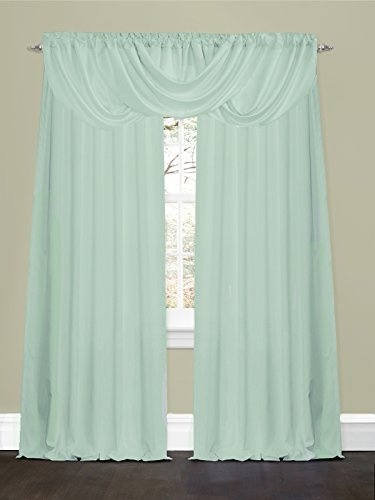 3 piece set luci light blue rod pocket valance and drapes. Black Bedroom Furniture Sets. Home Design Ideas
