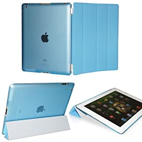 KHOMO � DUAL CASE Blue Cover FRONT + Blue Crystal Back Protector with Rubberized Texture for Apple iPad 2 , iPad 3 & iPad 4 (The new iPad HD)
