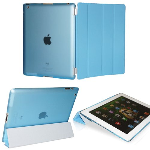 KHOMO DUAL CASE: Blue Smart Cover FRONT + Blue Crystal Back Protector for Apple iPad 2 new iPad 3 (The new iPad HD)