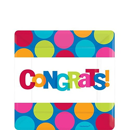 Amscan Cabana Dot Congratulations Printed Party Paper Plates, Multi