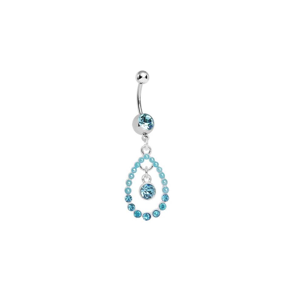 Blue Gem Faux Pearl Teardrop Dangle Belly Ring Body Candy Jewelry