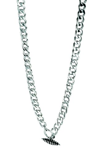 Fred Bennett Sterling Silver Mens Thick Link Necklace with Oval Shaped T Bar of 56cm N2691