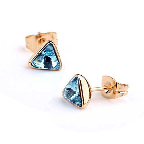 18ct Gold Stud Earrings With Austrian Aquamarine Crystals