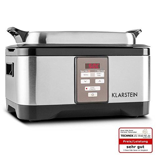 Klarstein Tastemaker - Cuiseur sous-vide pour cuisson lente de capacité 6L (550 W, température uniforme, lavable en machine) - argent