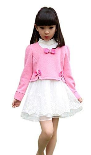 La Vogue-Vestito e Giacca di Cotone e Pizzo Abito Set Principessa Bambina Rosa Chiaro Petto 68cm
