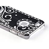 Pandamimi - Deluxe Black Bling Diamond Rhinestone Aluminum Chrome Hard Case Cover for Apple iPhone 5 5G + Screen Protector