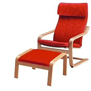 Ikea poang chair armchair and footstool set with covers machine washable modern - Red poang chair ...