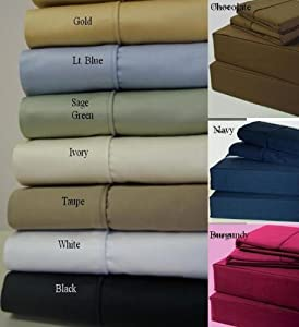 Super Deep Pocket -Egyptian Cotton 1000TC Pillow-Top White Bed Sheet Sets - Luxury Egyptian Cotton Bed Sheet Set -- Size: king