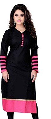 TARUMARU Women's Cotton Silk And Simple Printed Work Black And Pink Color Heavy Kurtis (Black Kurtis)