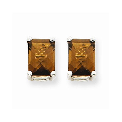 Smoky Quartz Earrings - 14K White Gold - Post W/ Friction Back - 7 X 5Mm - 0.8Gr