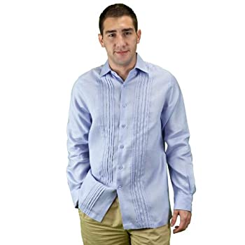 Mens long sleeve beach wedding shirt.
