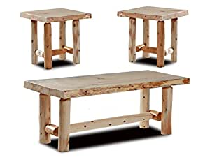 Rustic Log Coffee And End Table Set Pine And Cedar Unfinished