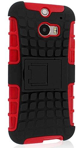 Mylife Gothic Black + Venetian Red {Rugged Design} Two Piece Neo Hybrid (Shockproof Kickstand) Case For The All-New Htc One M8 Android Smartphone - Aka, 2Nd Gen Htc One (External Hard Fit Armor With Built In Kick Stand + Internal Soft Silicone Rubberized