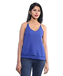 Avakasa Polyester Blue Solids Partywear Sleeveless Sleeves Top (top-32-blue)