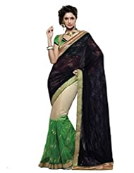Indian Women Net And Georgette Resham And Patch Work Saree With Unstitched Blouse Piece (Black And Green)