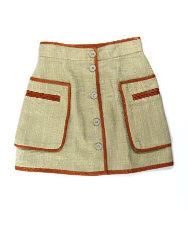 Malene Birger womens basket weave leather trimmed skirt