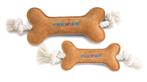 Premier Pet SofToss Bone with Rope Dog Toy, Small