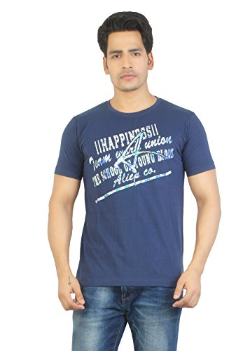 Aliep Aliep Stylish Navy Blue Printed Half Sleeves T-Shirt For Men | ALP1646 (Multicolor)