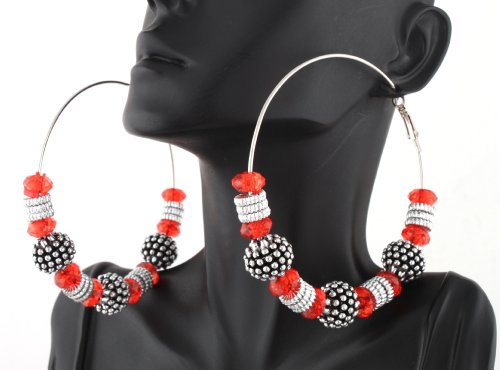 Ladies Red with Silver Spiked Balls & Spacers Style 3.25 Inch Hoop Earrings