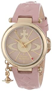 Vivienne Westwood Orb II Women's Quartz Watch with Pink Dial Analogue Display and Pink Leather Strap VV006PKPK