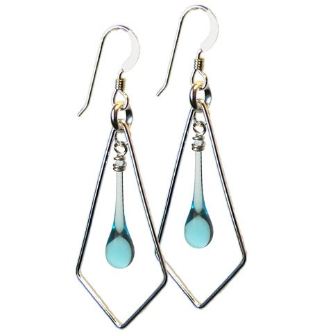 Water Sundrop Kite Earrings, recycled glass and sterling silver