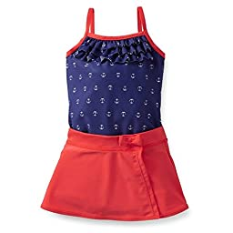 Carter\'s Girls 1-piece Swimsuit & Skirt Set (Youth 5, Navy/Red)