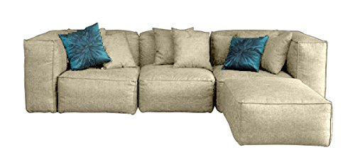 Forzza Pluto Four Seater L-Shaped Sofa (Beige)
