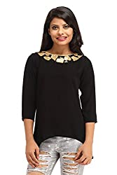 Cottinfab Women Polyester Black Tops (Large)