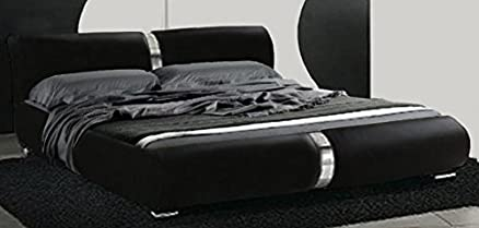 Letto matrimoniale design moderno 225x174 nero piedini inserti acciaio letti camera