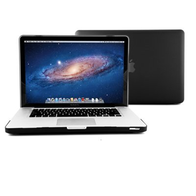 GMYLE ®Black Rubberized See-Through Hard Shell Skin Case Cover for Apple 15-inch Aluminum Unibody Macbook Pro