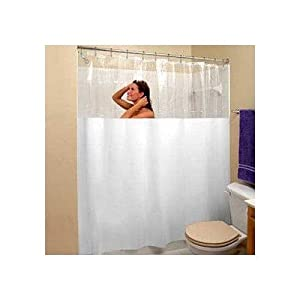 25 Off Stall Size Vinyl Shower Curtain 54 Wide X 78 Long White With Clear Top Best Price