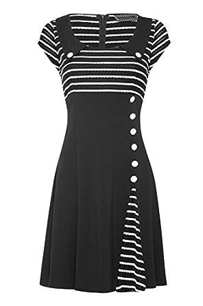 Retro Rockabilly Striped Waisted & Flared Dress (Small, Black & White)