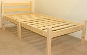 Single 3ft Wooden Pine Bed Frame - Can be used by Adults - Strong siderail support legs included by Strictlybedsandbunks