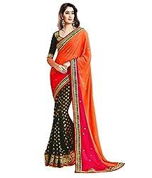 Om Shantam Sarees Women's Georgette Foil Saree with Blouse (Omfoil_orange-pink)