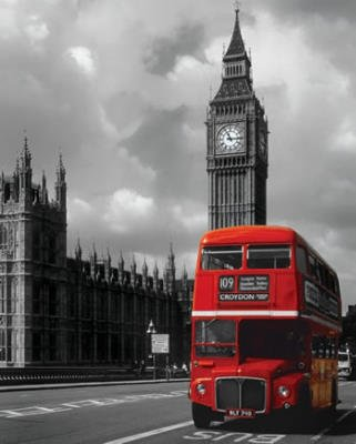 London Red Bus Art Print Poster - 16x20