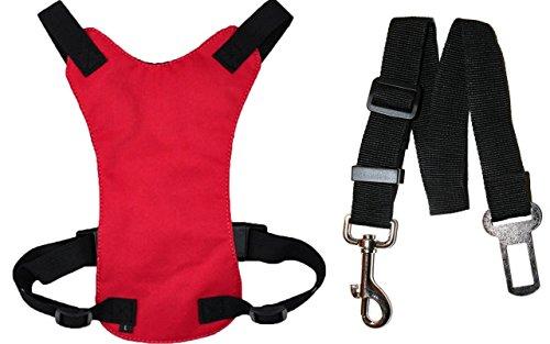 Artikelbild: DappaDogTM Hunde Autositz SICHERHEITSGURT inklusive anpassbarer Clip-On-Sitzgurtleine mittelgroß Farbe Rot