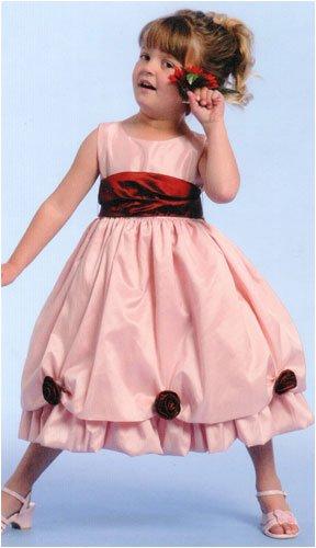 Pink Taffeta Sleeveless Flower Girl Dress - Customize Colors! Size 2T - (Child)