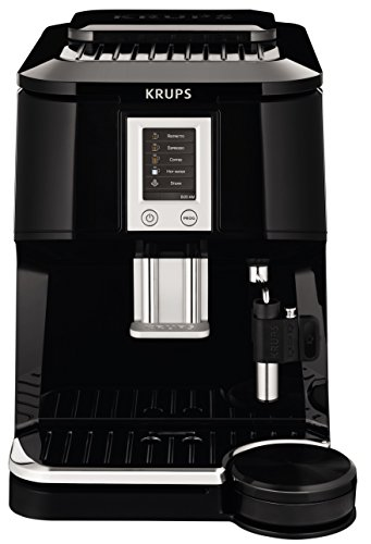 Krups Ea844 Falcon Fully Automatic Espresso Machine With Latte Tray And Built-In Conical Burr Grinder, Black
