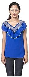 Izna Women's Slim Fit Top (IDWT107BL-Small, Blue, Small)