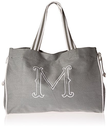 Mud Pie Gray Initial Tote Diaper Bag, M by Mud Pie (M Mud Pie Bag compare prices)