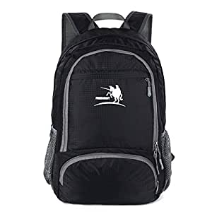 ArcEnCiel® Durable Packable Handy Lightweight Travel Backpack Daypack (Black)