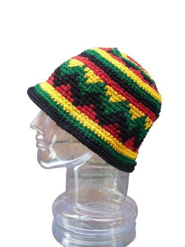 Small Medium Rasta Hat Hand Made Crochet Cotton Reggaebowler Floppy Cloche Bell Brim front-494743